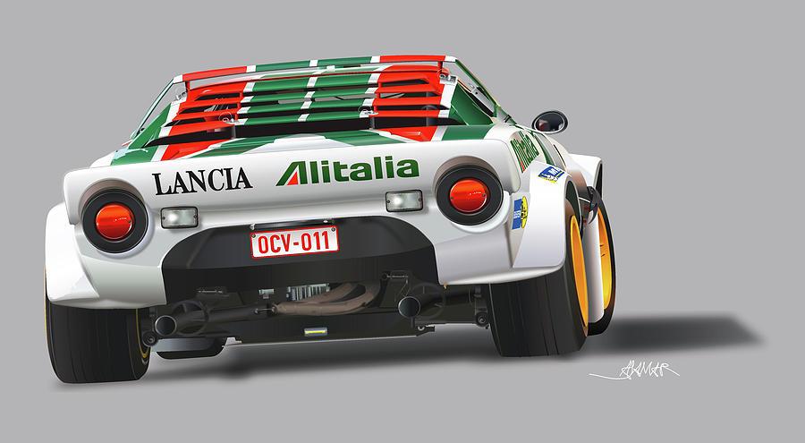 Lancia Stratos Rear Illustration Drawing by Alain Jamar