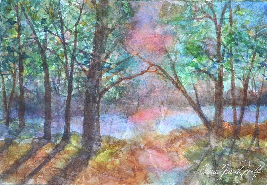 On Summers Pond Painting by Debra Grantz Wolf
