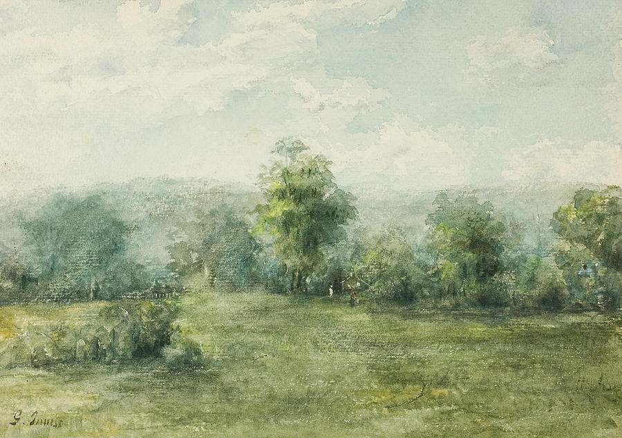 George Inness Drawing - Landscape, 1845-1894 by George Inness