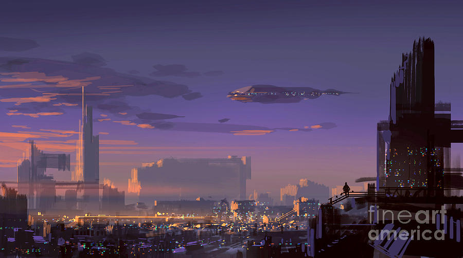 Fi Digital Art - Landscape Digital Painting Of Sci-fi by Tithi Luadthong