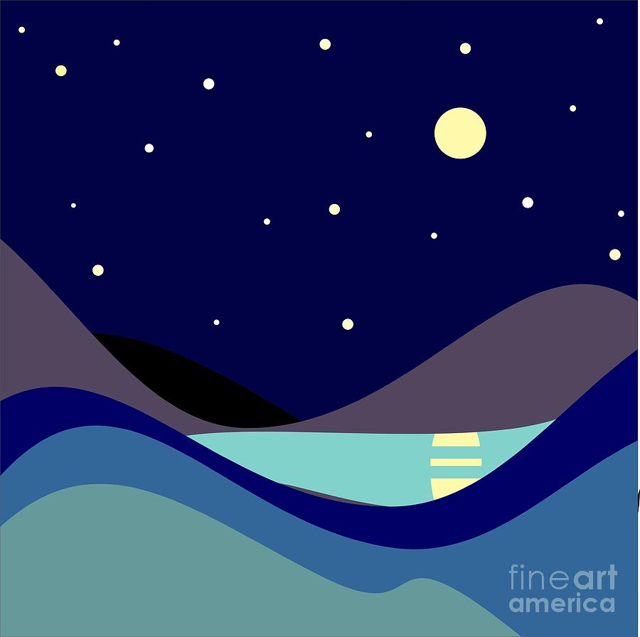 Moonlight Digital Art - Landscape. Moonlit Night. Vector by Kizuneko