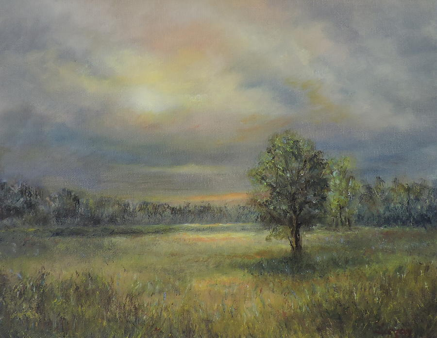 Inspirational Painting - Landscape of a Meadow with sun and trees by Katalin Luczay