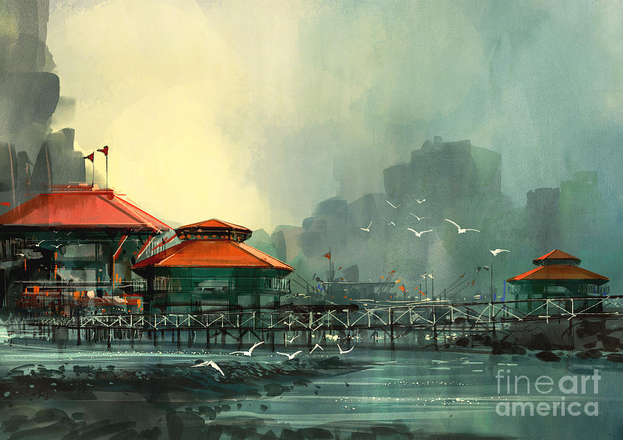 City Digital Art - Landscape Of Beautiful Harbor,fishing by Tithi Luadthong