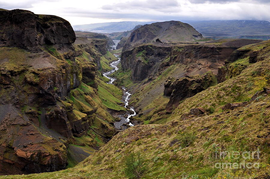 Landmannalaugar Photograph - Landscape Of Canyon And River In by Vaclav P3k