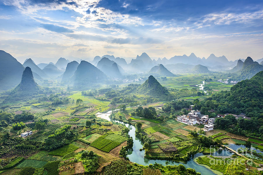 Country Photograph - Landscape Of Guilin, Li River And Karst by Aphotostory