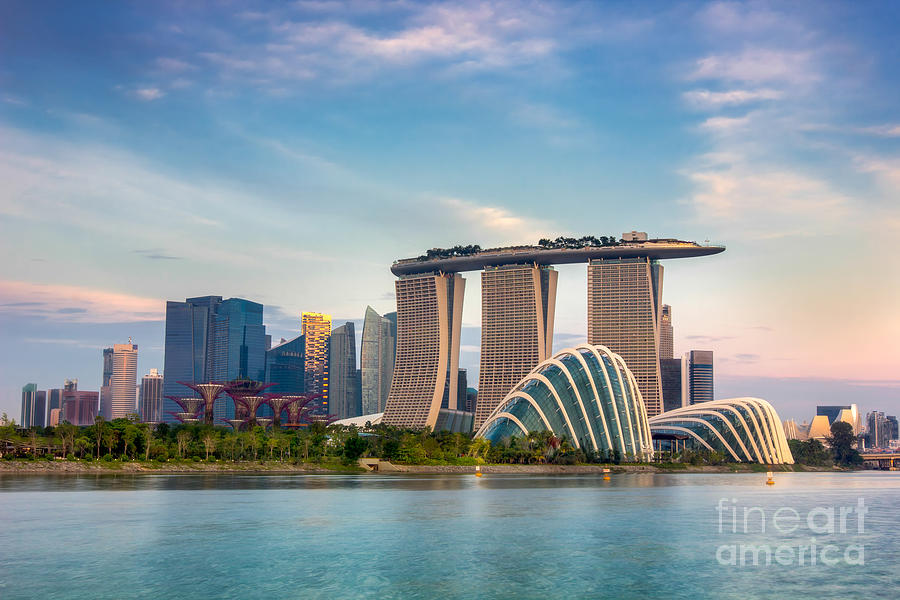 Commercial Photograph - Landscape Of The Singapore Financial by Anek.soowannaphoom