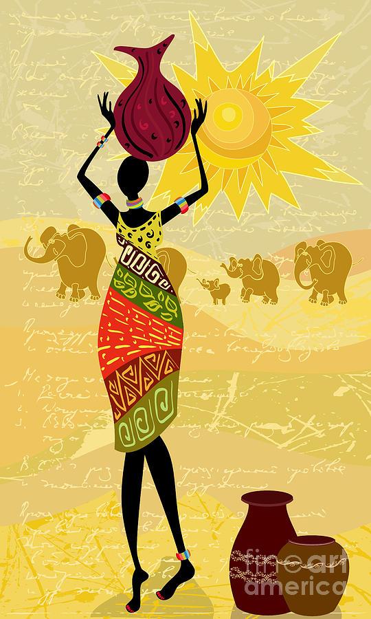 Dress Digital Art - Landscape With An African Woman by Oksana Alekseeva