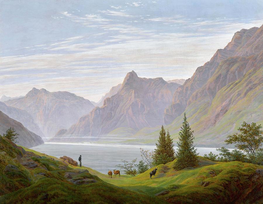 Caspar David Friedrich Painting - Landscape With Mountain Lake, Morning by Caspar David Friedrich