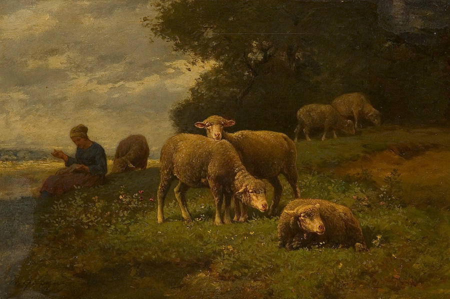 Landscape with Sheep and Shepherdess by Charles Jacque
