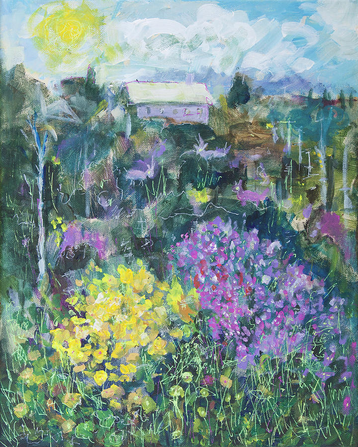 Landscape with Spring flowers 16x20 by Maxim Komissarchik