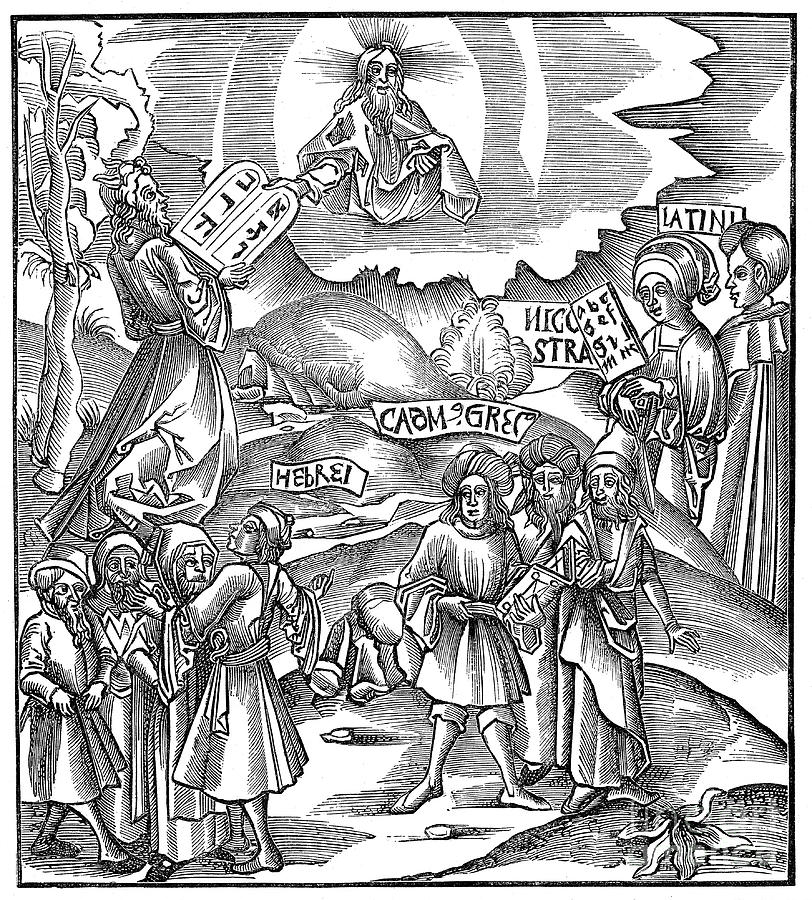 Languages Moses Receiving From God Drawing by Print Collector
