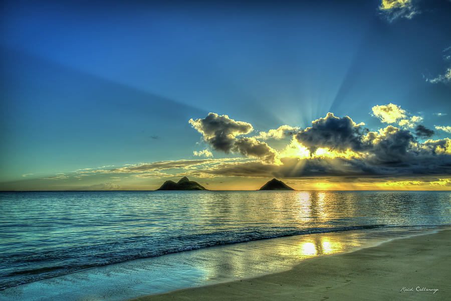 Lanikai Beach Majestic Sunrays Sunrise Oahu Hawaii Seascape Art by Reid Callaway