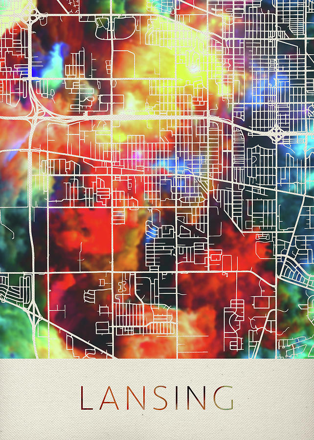 Lansing Michigan Watercolor City Street Map by Design Turnpike
