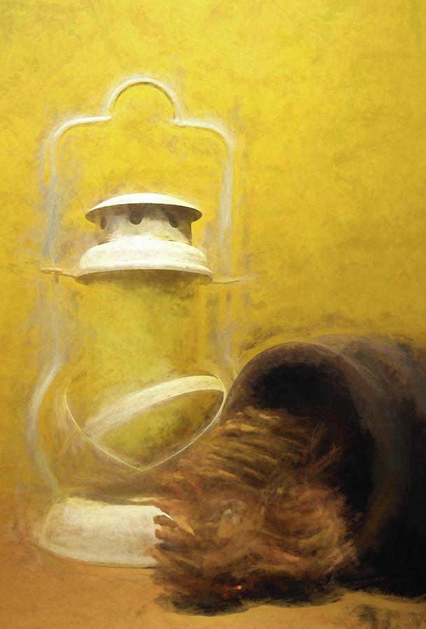 Lantern and Pine Cones by Pamela Walton