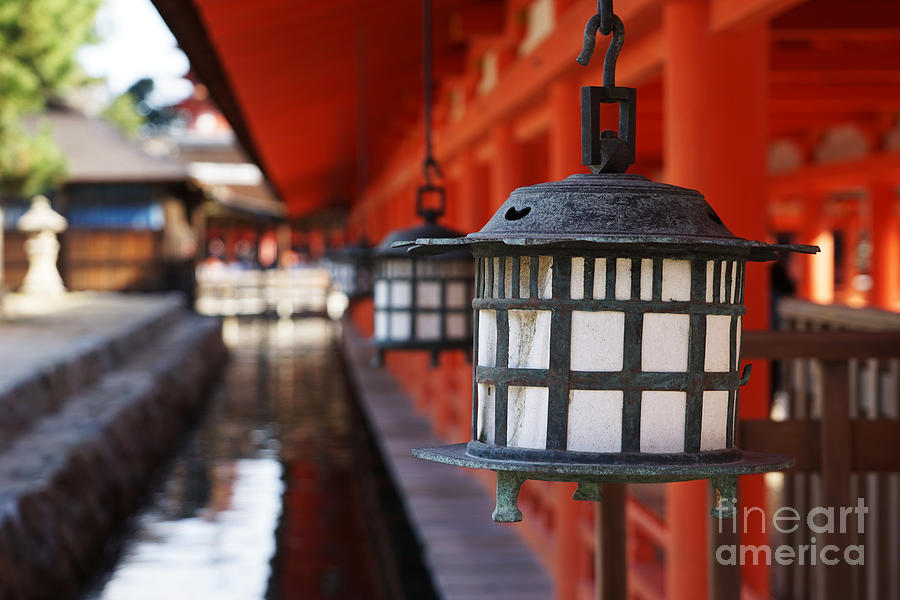 Religious Photograph - Lanterns In Itsukushima Shrine by Iwashi Spirit