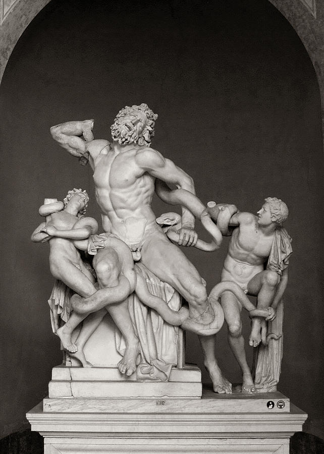 Laocoon Group at the Vatican Museum in Rome Black and White by Angela Rath