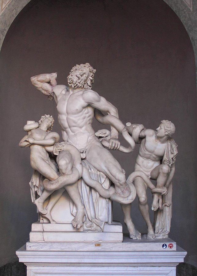 Laocoon Group at the Vatican Museum in Rome Vertical Crop by Angela Rath