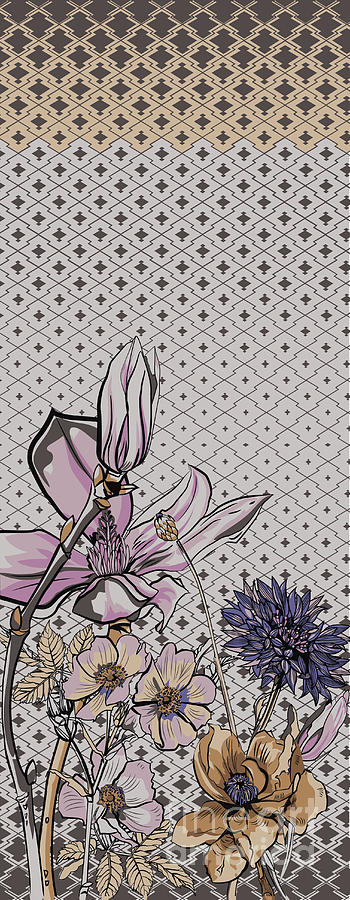 Delicate Digital Art - Large Flowers. Decorative Pattern For by Gettdesign