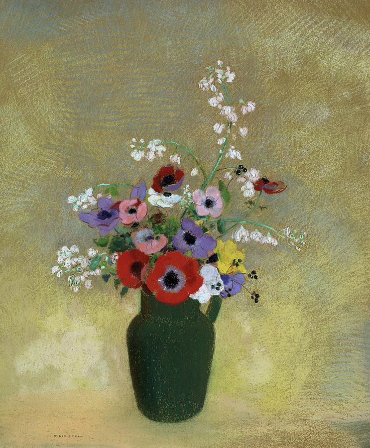 Odilon Redon Painting - Large Green Vase With Mixed Flowers, 1912 by Odilon Redon