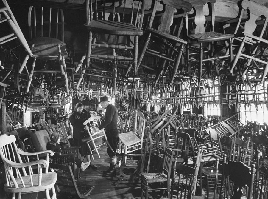 Large Room Full Of Chairs Being Offered Photograph by Walter Sanders