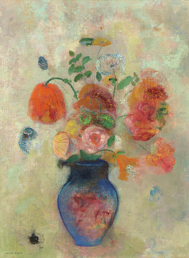 Odilon Redon Painting - Large Vase With Flowers, 1912 by Odilon Redon
