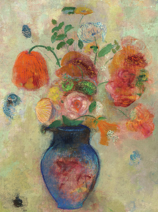 Odilon Redon Painting - Large Vase With Flowers, Mixed Flowers, 1912 by Odilon Redon