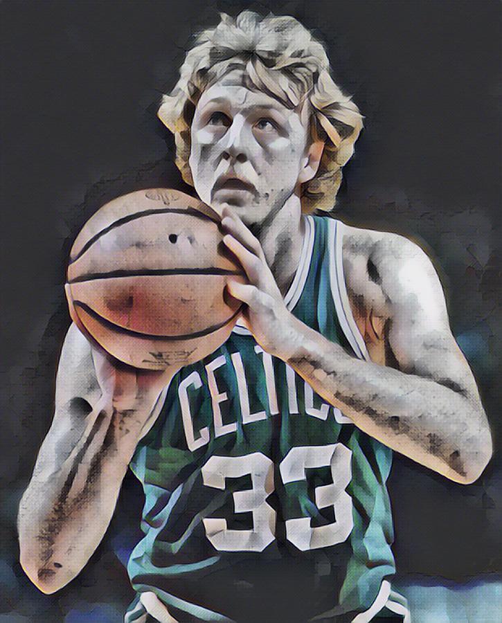 Larry Bird Mixed Media - Larry Bird Boston Celtics Abstract Art 1 by Joe Hamilton