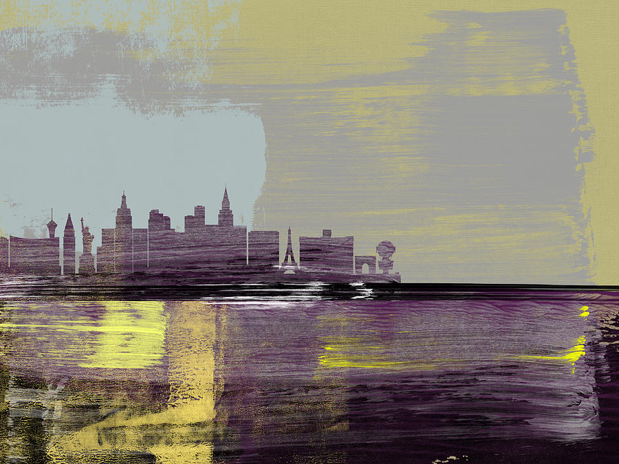 Las Vegas Mixed Media - Las Vegas Abstract Skyline II by Naxart Studio