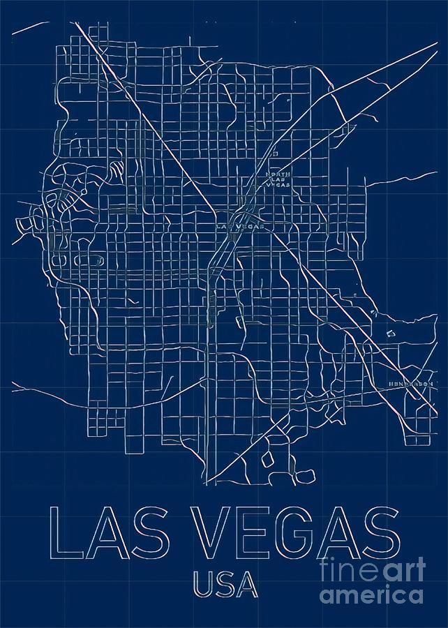 Las Vegas Blueprint City Map Digital Art by Helge