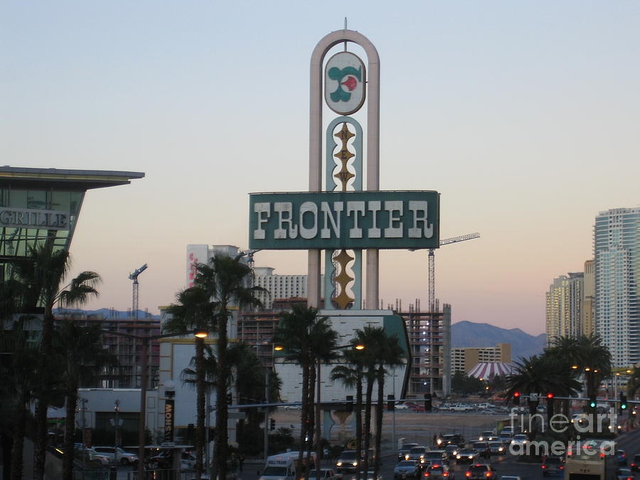 Las Vegas Frontier Hotel Day Time View Casino Buildings Hotels Street Cars Scene Las Vegas Blvd 2008 by John Shiron
