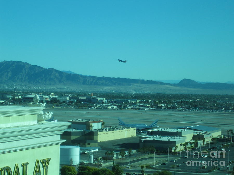 Las Vegas International Airport Airplane Runway Nevada Day Time View 2008 by John Shiron