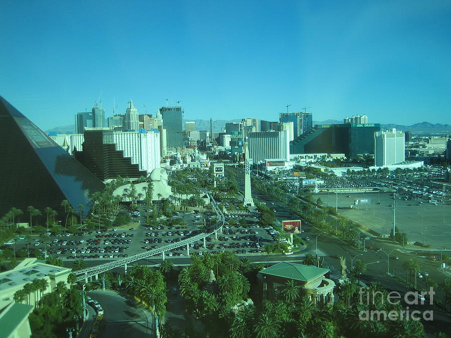 Las Vegas Nevada Day Time View Casino Buildings Hotels Street Cars Scene Las Vegas Blvd 2008 by John Shiron