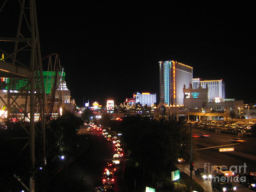 Las Vegas Nevada Night Lights Street Cars Scene Las Vegas Blvd View 2008 by John Shiron