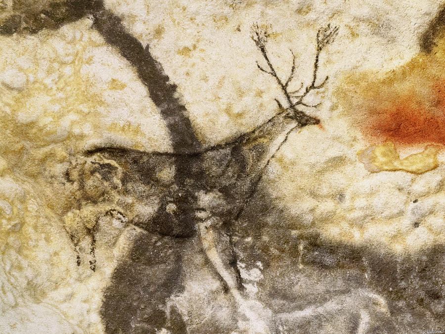 Lascaux Hall of the Bulls - Jumping Deer by Weston Westmoreland
