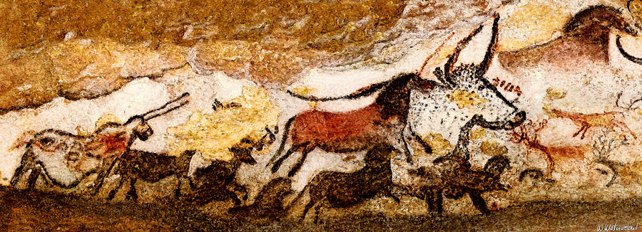 Lascaux Hall of the Bulls - Running from the Hunters by Weston Westmoreland