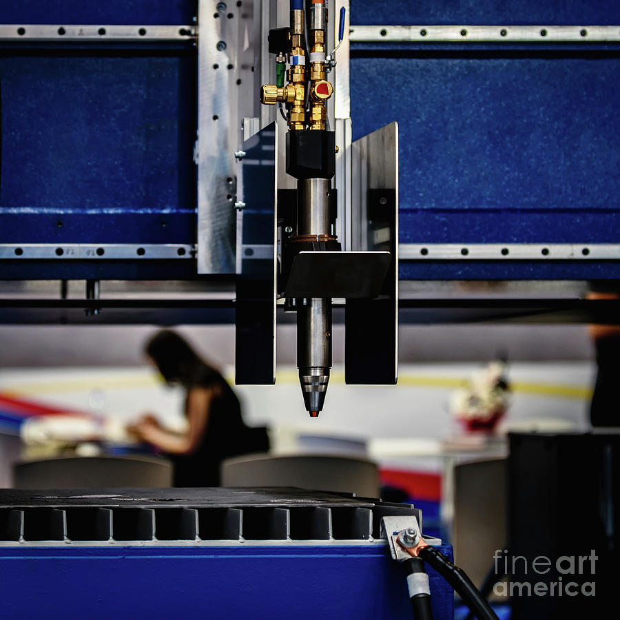 Laser Photograph - Laser Cutting Machine by Microgen Images/science Photo Library
