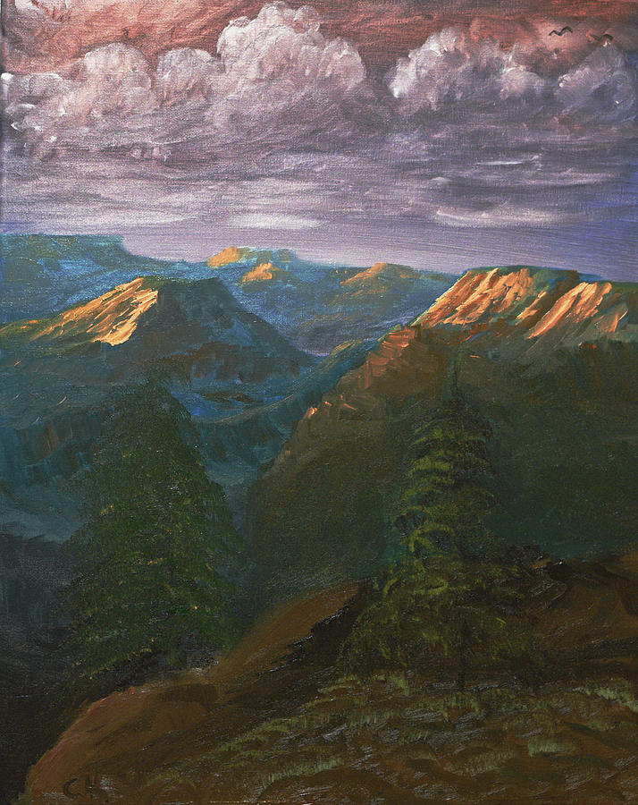 Grand Canyon Painting - Last Light Of The Grand Canyon by Chance Kafka