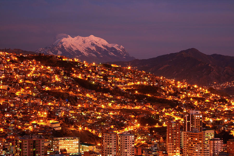 Alpenglow Photograph - Last Light On Illimani (6438m/21,122ft by David Wall