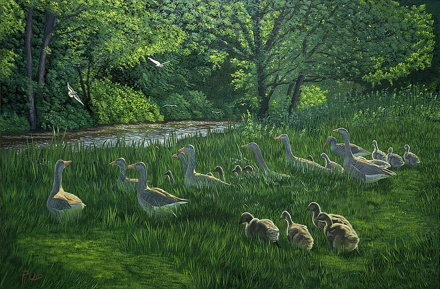 Riverscape Painting - Last one ins a Duck by Raymond Ore