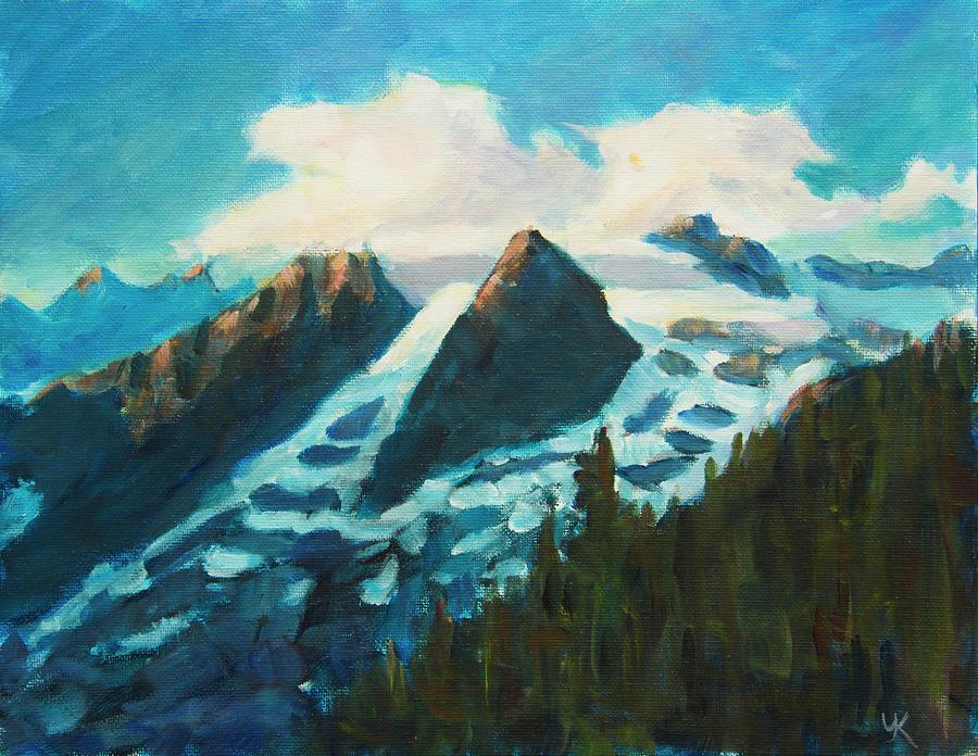 Last Sun Rays on Mounaintops Alaska Glacier by Yulia Kazansky