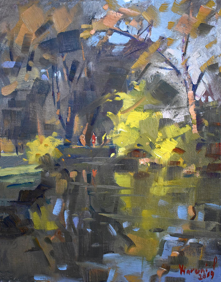 Ellicott Creek Painting - Last Suntouches In Ellicott Creek Park  by Ylli Haruni