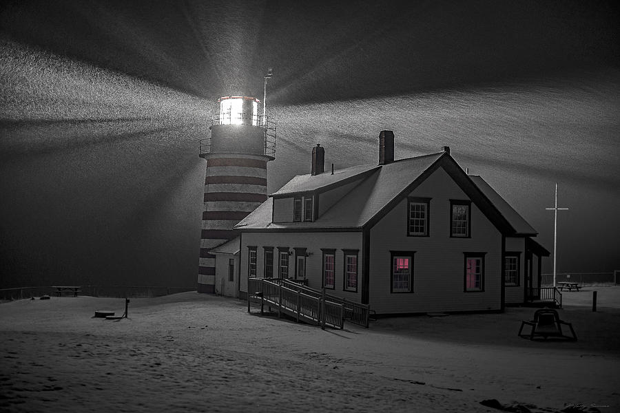 Late Night Snow Squall at West Quoddy Head Lighthouse by Marty Saccone
