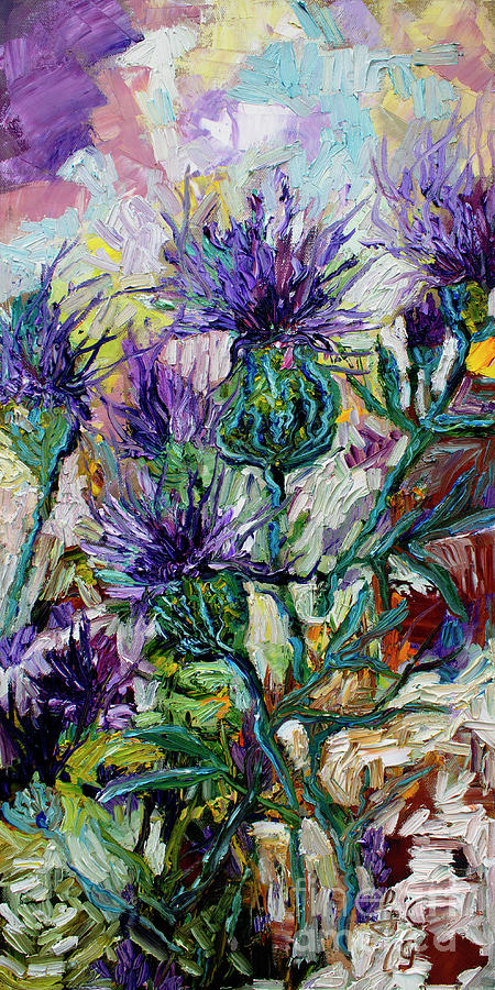 Later Summer Thistles Oil Painting Painting by Ginette Callaway