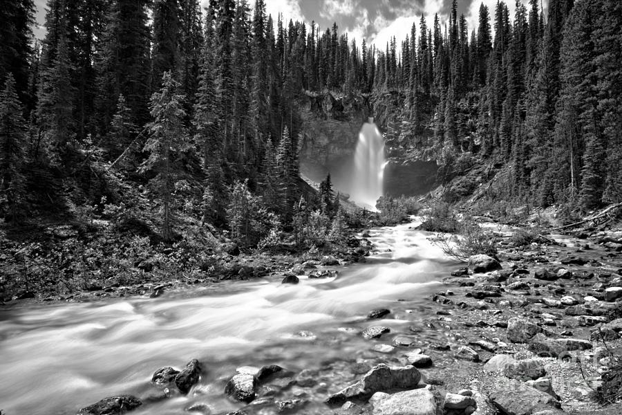 Laughing Falls Blue Stream Black And White by Adam Jewell