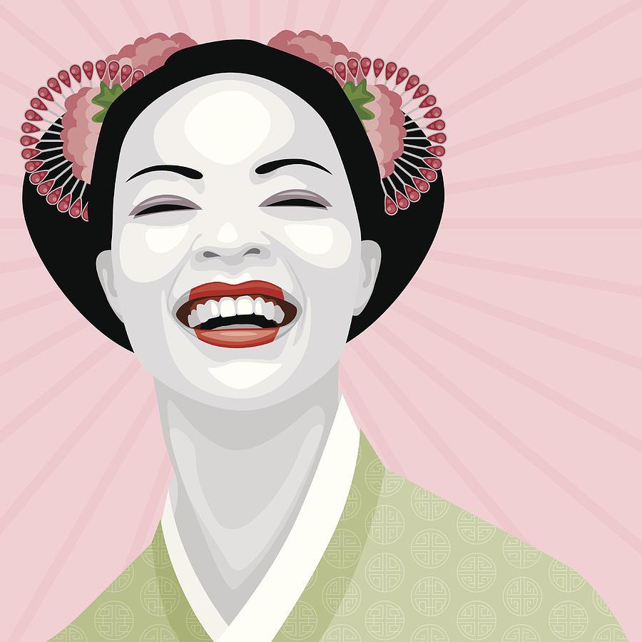Laughing Geisha Digital Art by Bortonia