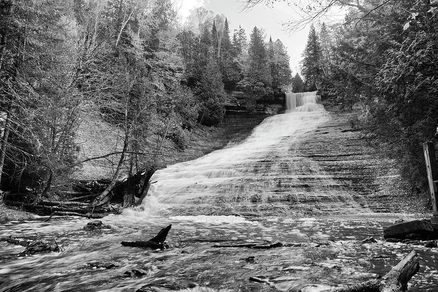 Laughing Whitefish Falls Black and White - Michigan by Rick Veldman
