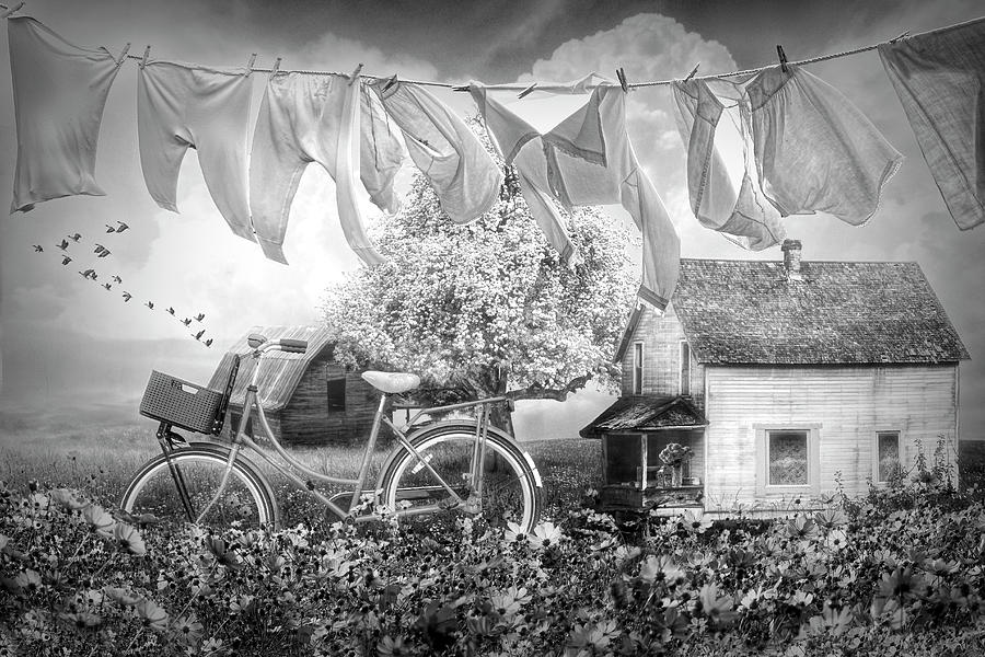 Laundry Day Vintage Black and White by Debra and Dave Vanderlaan
