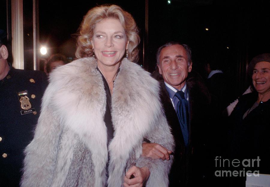 Lauren Bacall In Fur Coat Photograph by Bettmann