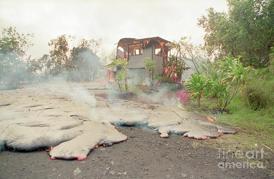 Lava From Kilauea Volcano Consumes Home Photograph by Bettmann