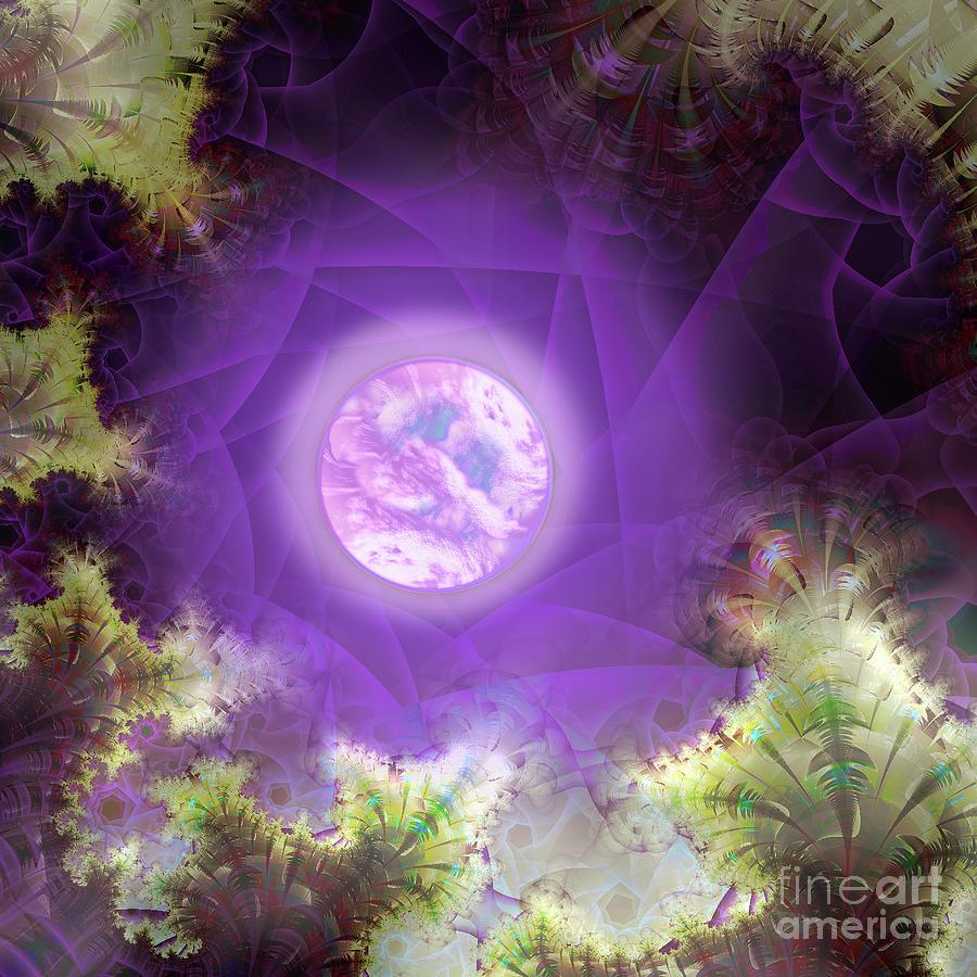 Lavender Moon alien garden at night by Tina Lavoie